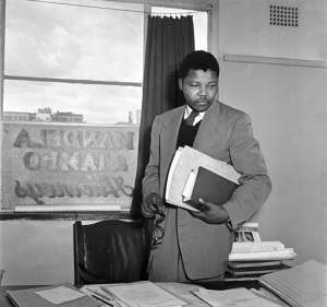Anti-apartheid activist and lawyer Nelson Mandela in the office of Mandela and Tambo, a law practice set up in Johannesburg by Mandela and Oliver Tambo to provide free or affordable legal representation to blacks.
